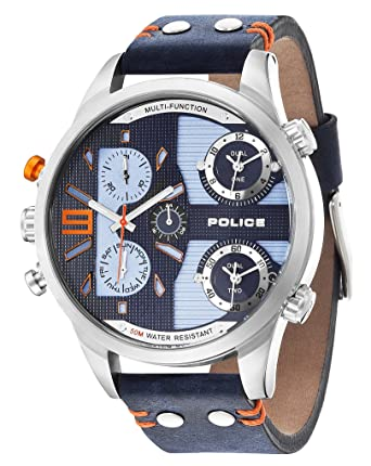 police men s blue leather strap watch amazon co uk watches police men s blue leather strap watch