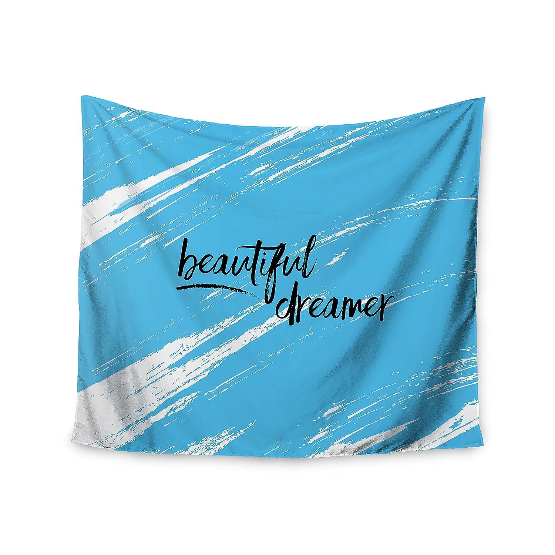 KESS InHouse NL Designs Beautiful Dreamer Blue Typography Wall Tapestry 68 x 80