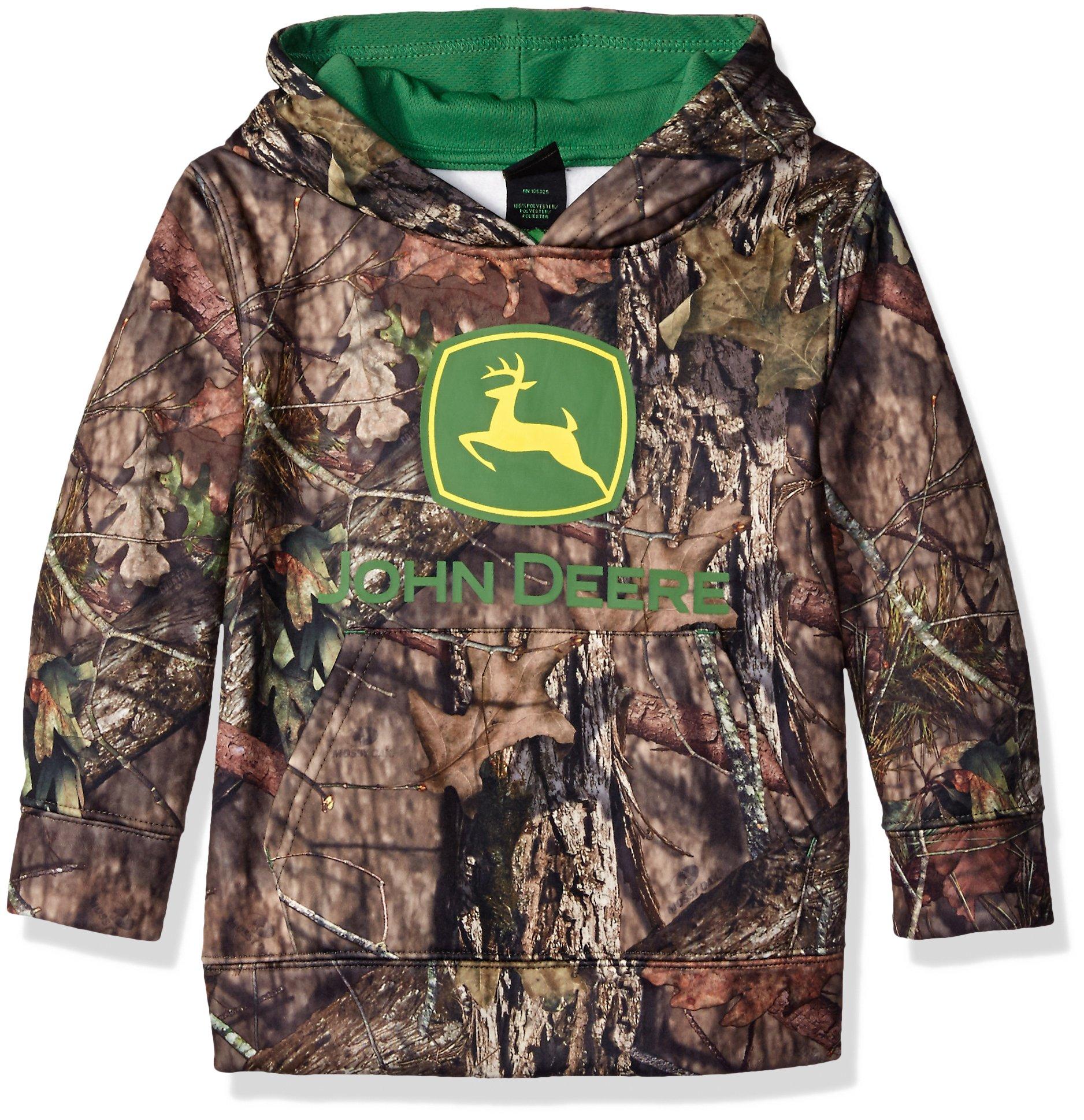 John Deere Boys' Little Mossy Oak Print Jd Logo Fleece Hoodie