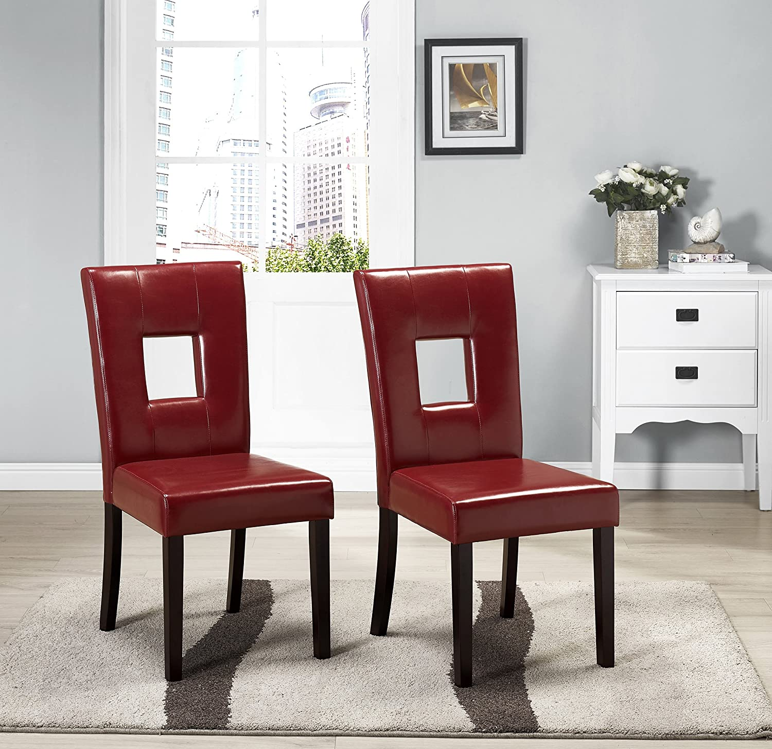 Amazon Kings Brand Solid Wood Keyhole Back Red Dining Room
