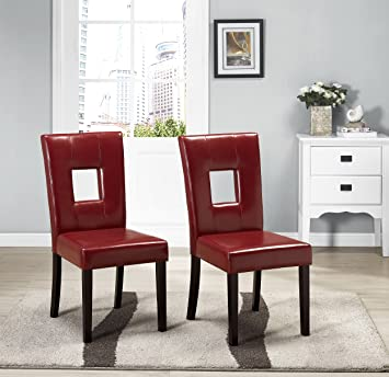 Kings Brand Solid Wood Keyhole Back Red Dining Room Chair, Set Of 2 Chairs