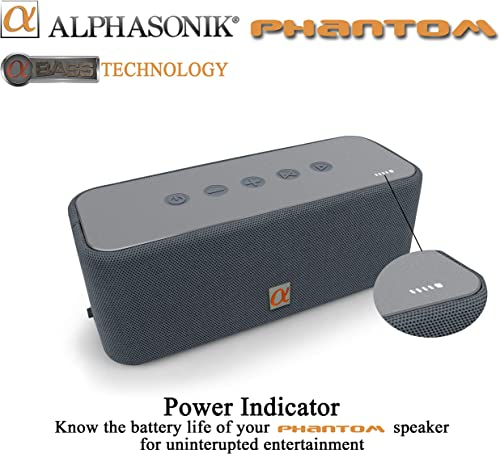 Alphasonik Phantom Wireless Bluetooth V4.2 Portable Party Speaker with Loud 30W HD Stereo Sound and Rich Bass, Built-in Mic, Micro USB, Auxiliary, 4000mAh Battery 24-Hour Playtime for iPhone, Samsung