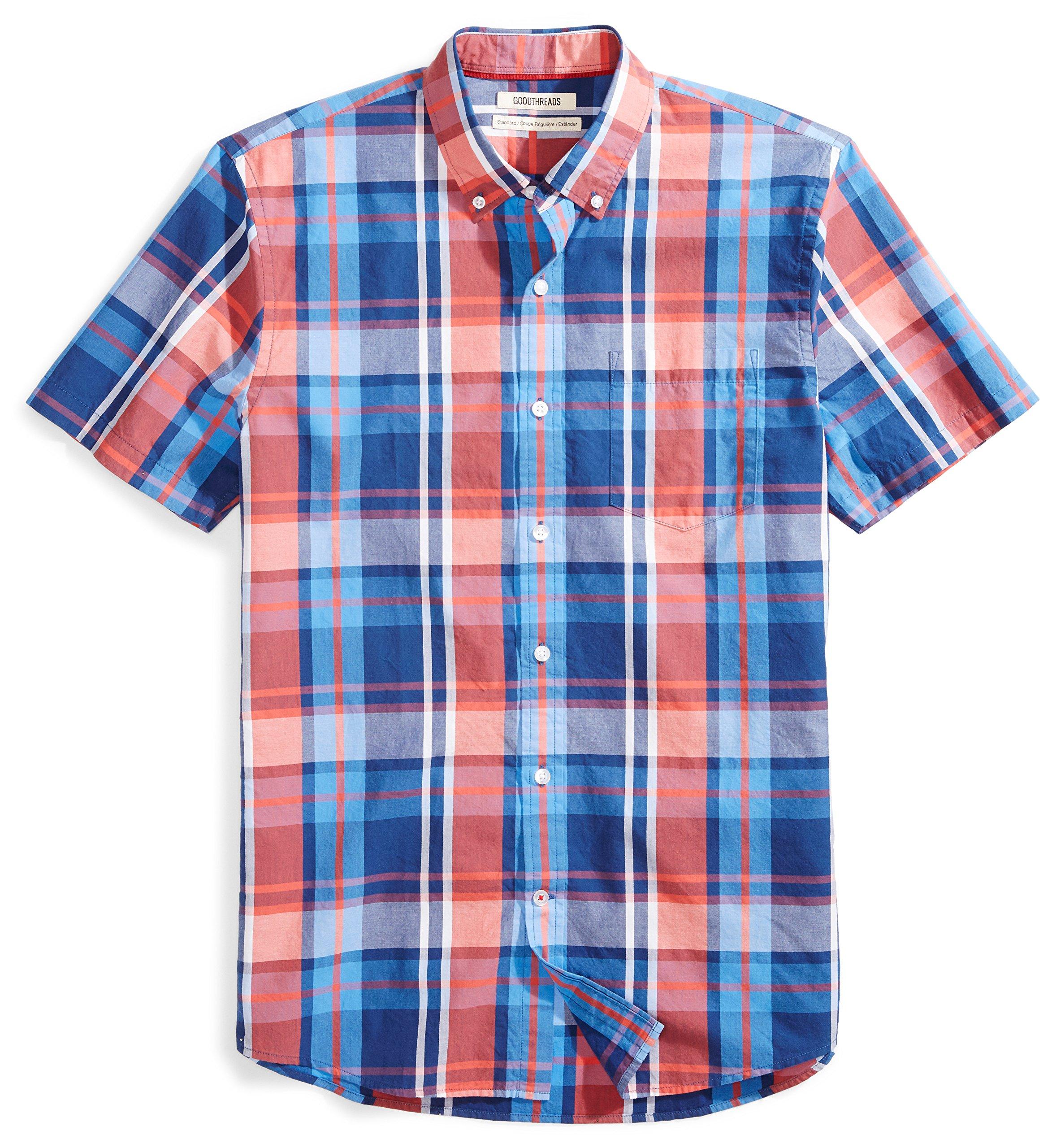Goodthreads Men's Standard-Fit Short-Sleeve Large-Scale Plaid Shirt, Red/Blue, Large