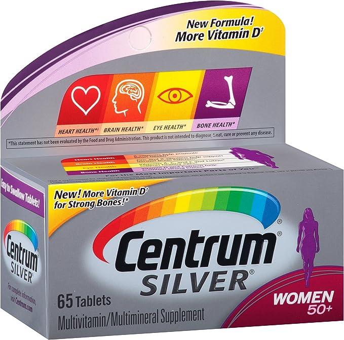 Centrum Silver Multivitamin for Women 50 Plus, Multivitamin/Multimineral Supplement with Vitamin D3, B Vitamins, Calcium and Antioxidants - 65 Count