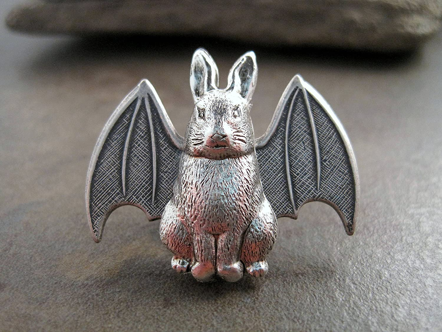 Handmade Steampunk Silver Bunny With Bat Wings Brooch Tie Tack