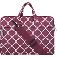 """Mosiso Quatrefoil Style Fabric Laptop Sleeve Case Cover Bag with Shoulder Strap 15-15.6"""" Wine Red"""