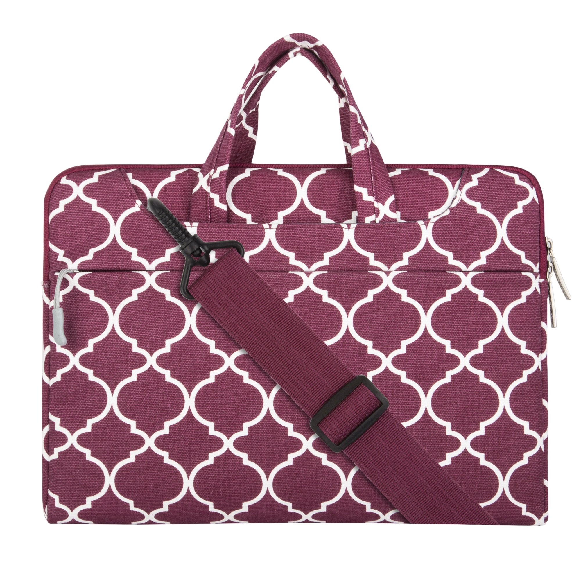 MOSISO Laptop Shoulder Bag Compatible 15-15.6 Inch MacBook Pro, Ultrabook Netbook Tablet, Quatrefoil Canvas Protective Briefcase Carrying Handbag Sleeve Case Cover, Wine Red