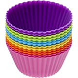 Popular Elements Silicone Baking Cups / Set of 12 Cupcake Liners Dynamic Colors Muffin Molds.