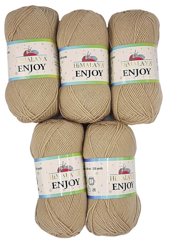 Enjoy, 5 gomitoli di lana Himalaya da 100 g (totale di 500 g), con il 50% di bambù, Beige, 35_x_25 CM