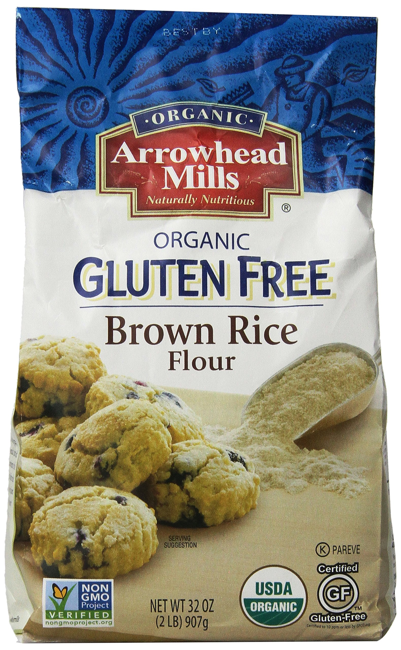 Arrowhead Mills Brown Rice Flour, 2-Pound Bags (Pack of 4)