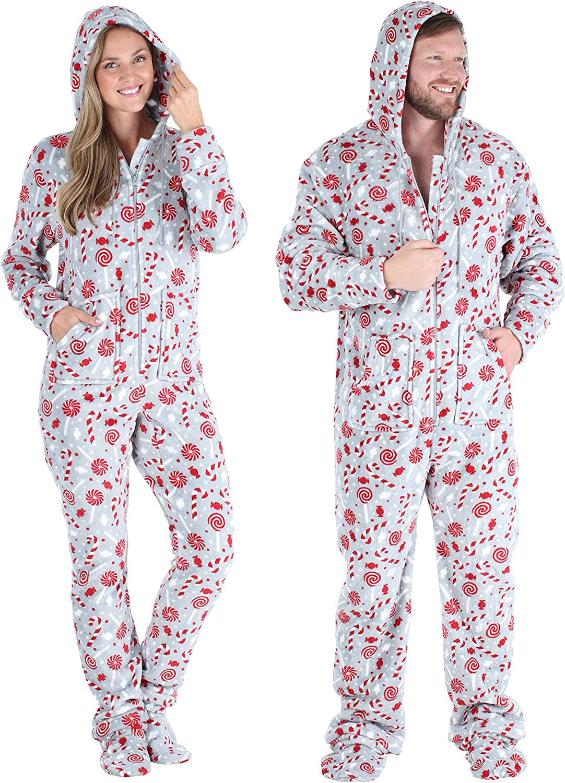 Snowflake Footed Onesies SleepytimePJs Matching Family Christmas Pajama Sets