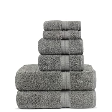 Luxury Premium Turkish Cotton 6-Piece Towel Set, Long-Stable 20/2, 2 Ply Turkish Ring-Spun Cotton Yarn Makes The Luxe-Factor, Eco-Friendly, (Gray)