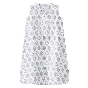 Halo 100% Cotton Muslin Sleepsack Wearable Blanket, Grey Tree Leaf, Small