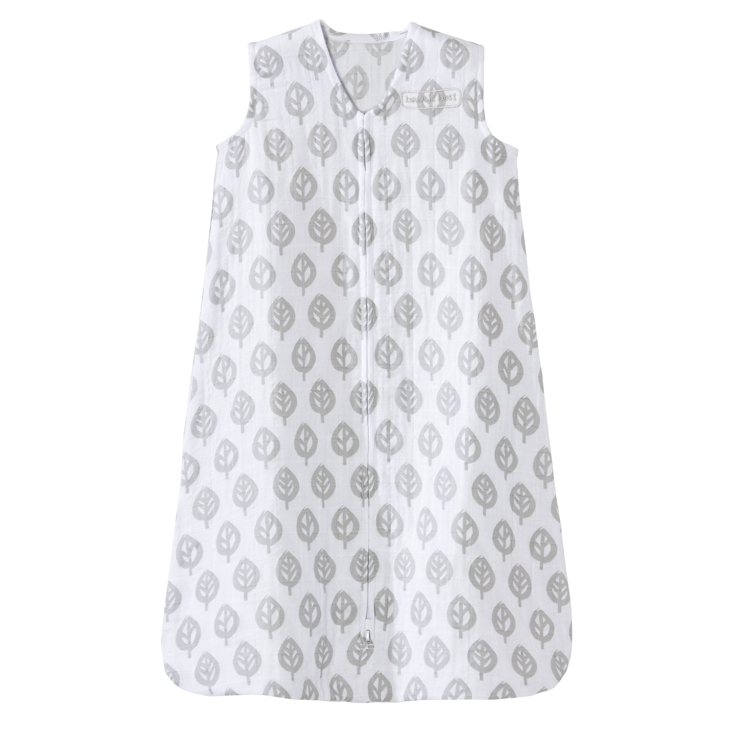 HALO 100% Cotton Muslin Sleep Sack Wearable Blanket, Gray Tree Leaf, Medium