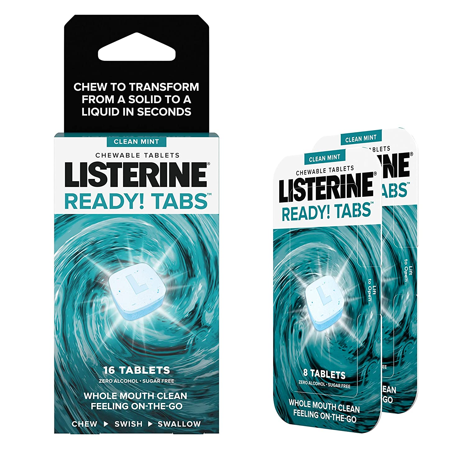Listerine Ready! Tabs Chewable Tablets with Clean Mint Flavor, Revolutionary 4-Hour Fresh Breath Tablets to Help Fight Bad Breath On-the-Go, Sugar-Free & Alcohol-Free & Kosher, 16 ct