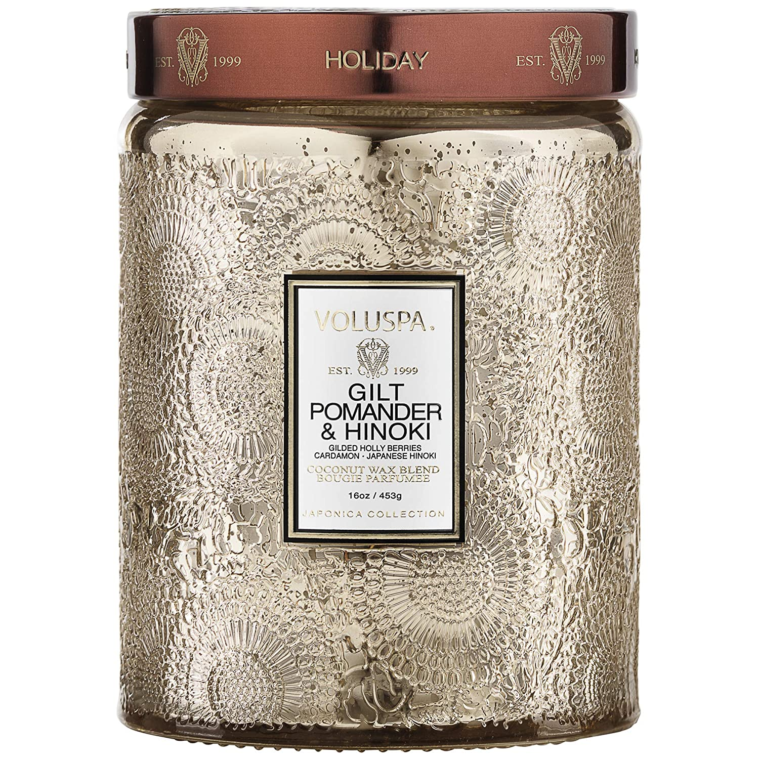 Voluspa Gilt Pomander & Hinoki Holiday Candle