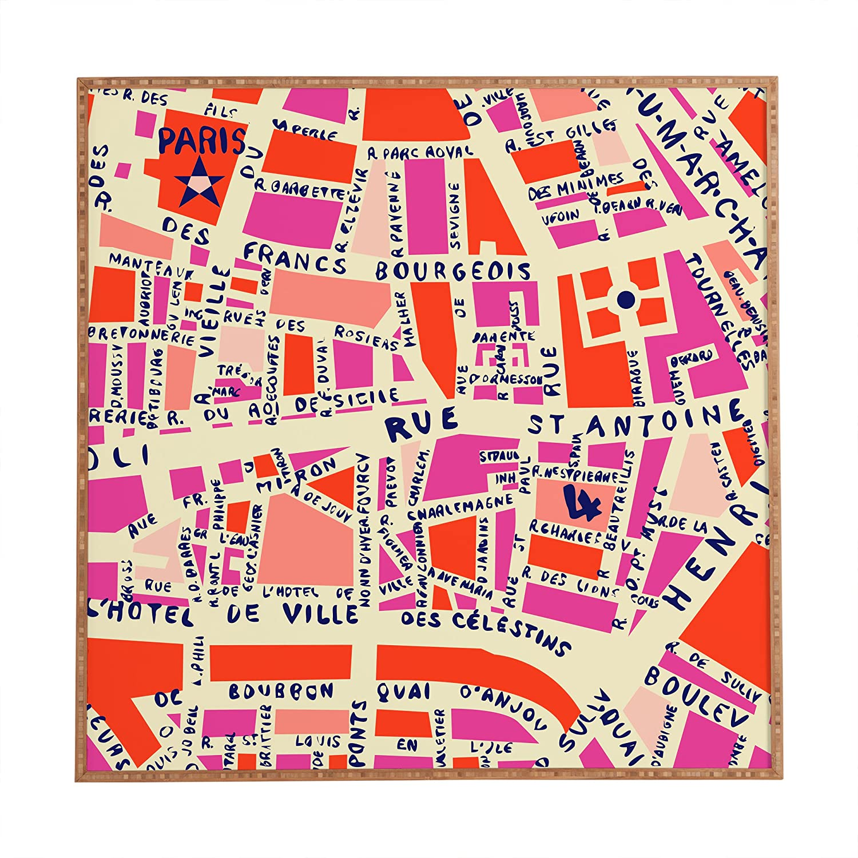 Deny Designs Holli Zollinger Paris Map Pink Framed Wall Art, Large