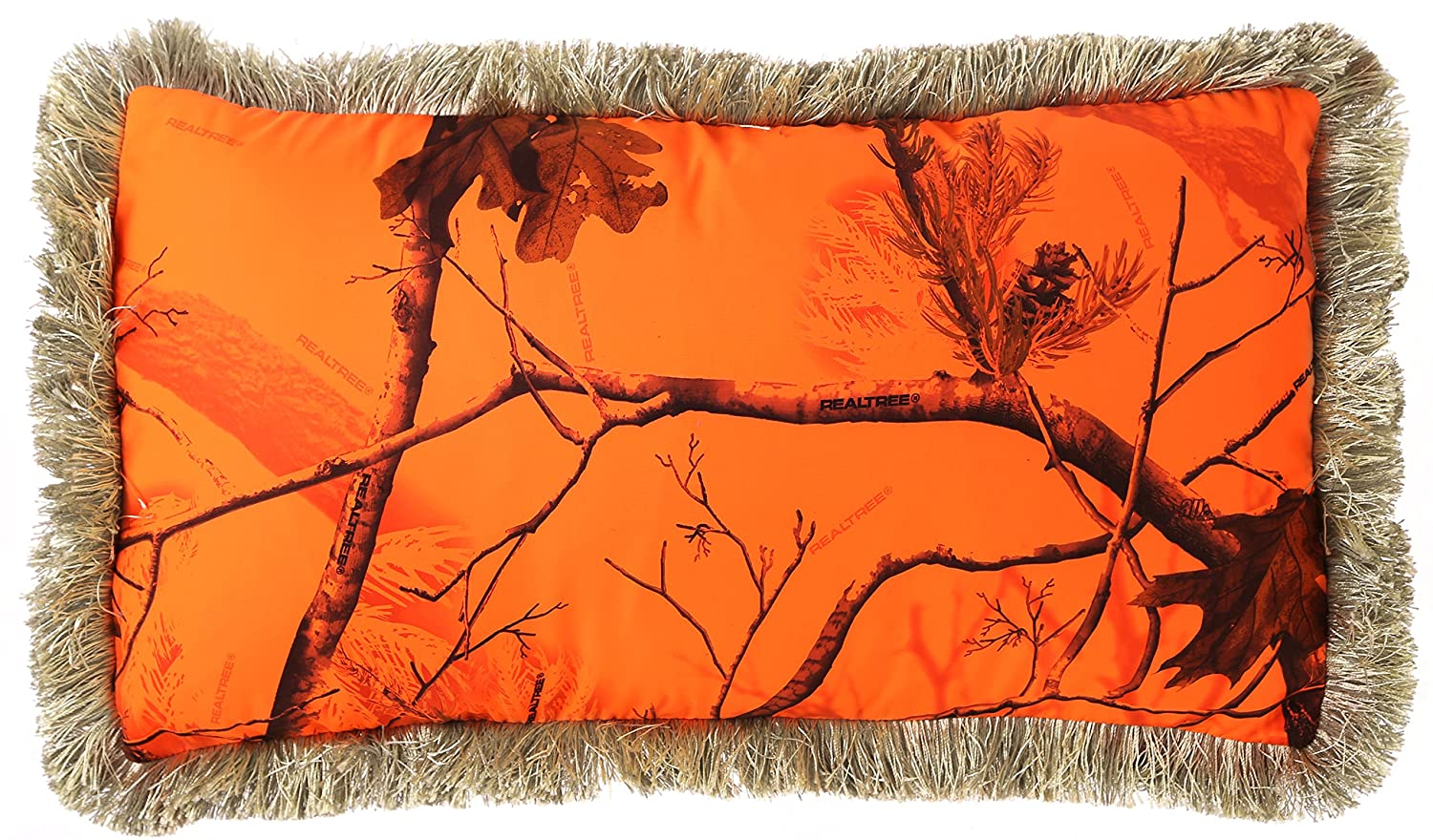 """Carstens Realtree AP Blaze Fringe Throw Pillow, 14 by 26"""""""