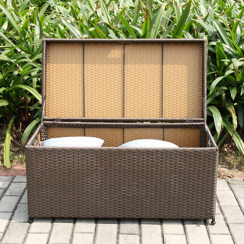 Amazon Outdoor 70 Gallon Wicker Deck Storage Box Color