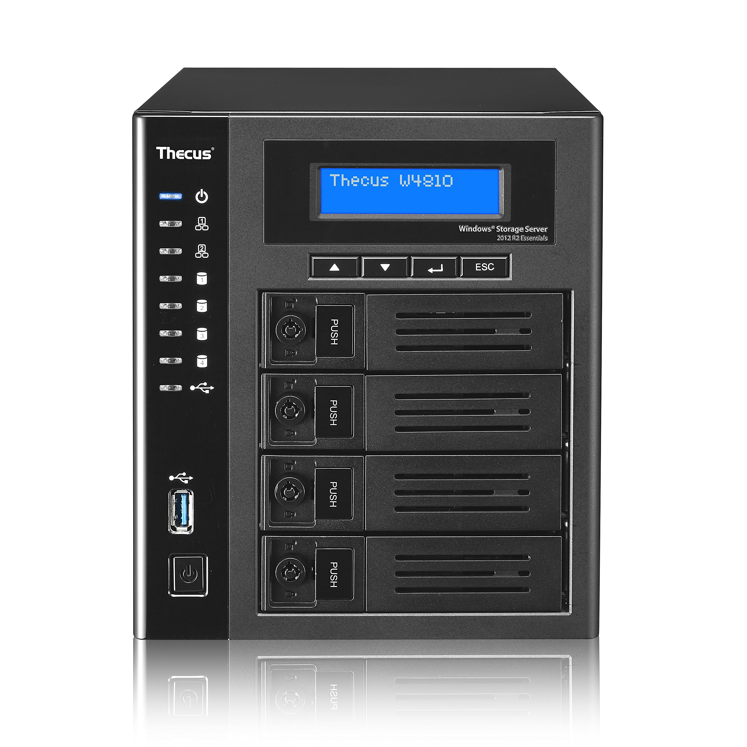 Thecus W4810 4-Bay WSS NAS with Intel Celeron N3160 1.6 GHz Qual Core, 4GB RAM, Windows License Included - Black