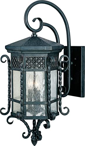 Maxim 30125CDCF Scottsdale Mediterranean Style Seedy Glass Outdoor Wall Sconce, 3-Light 120 Total Watts, 28 H x 14 W, Country Forge