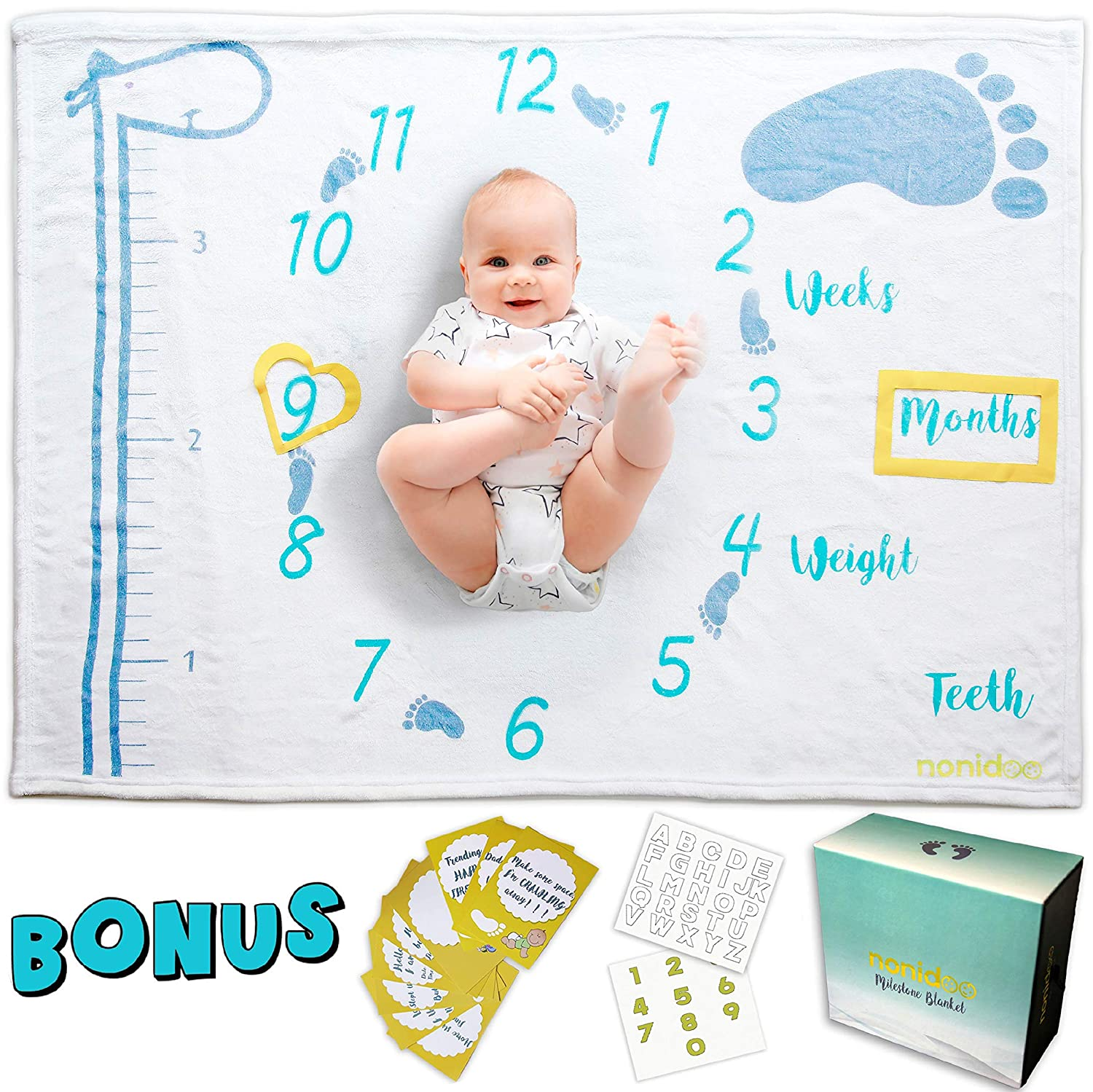 Nonidoo Baby Milestone Blanket Complete Package | Beautiful memories of your boy or girl | Super soft Unisex Photo Backdrop |16 Free Bonus Accessories| Unique Box for Baby Shower Gifts | Fleece Growth Blanket