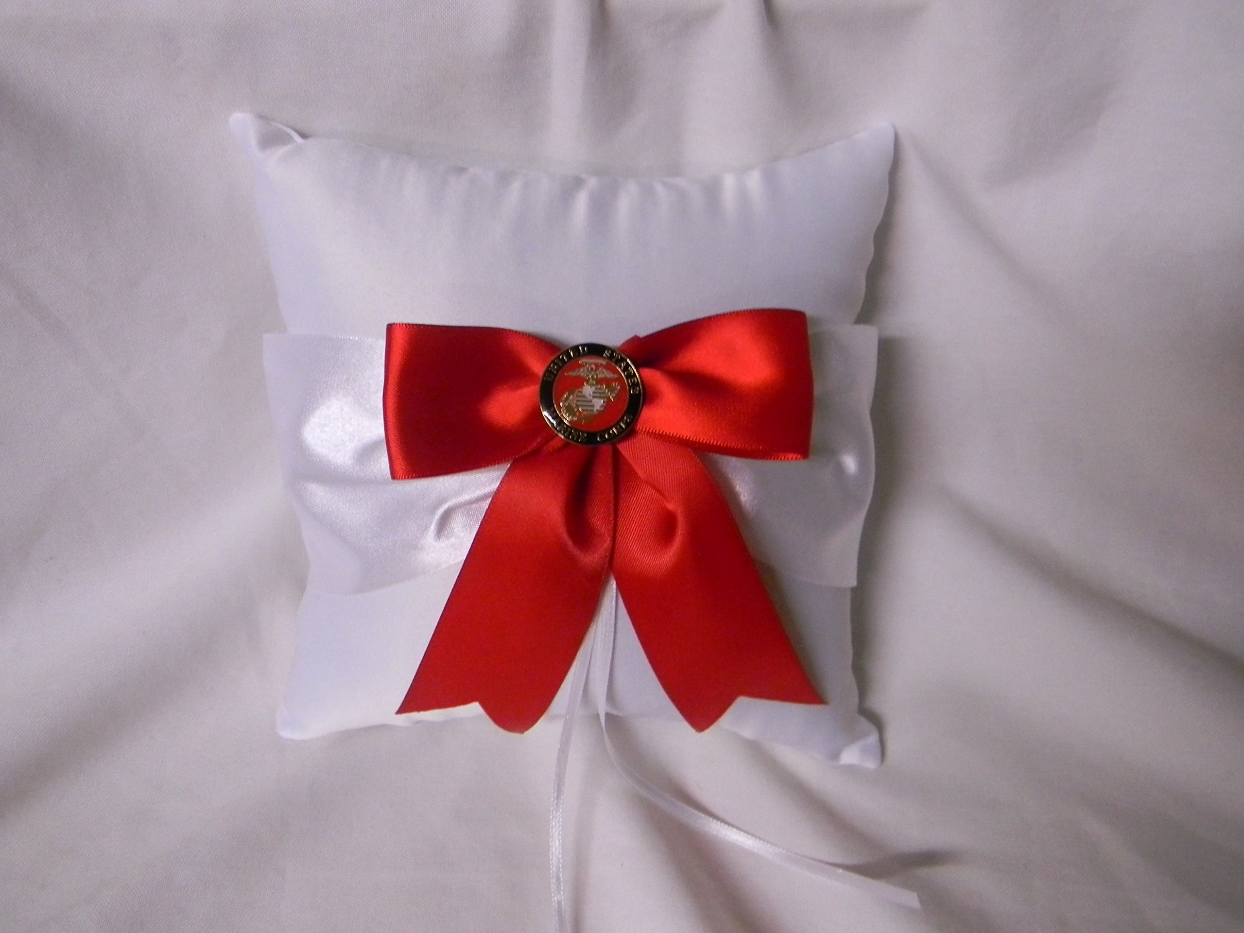 Wedding Ceremony Party Military US Marine Big Red Bow Ring Bearer Pillow