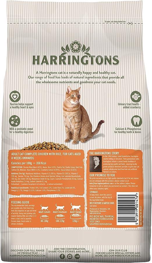 Harrington Comida para gatos completa con pollo y arroz, 4 x 2 kg