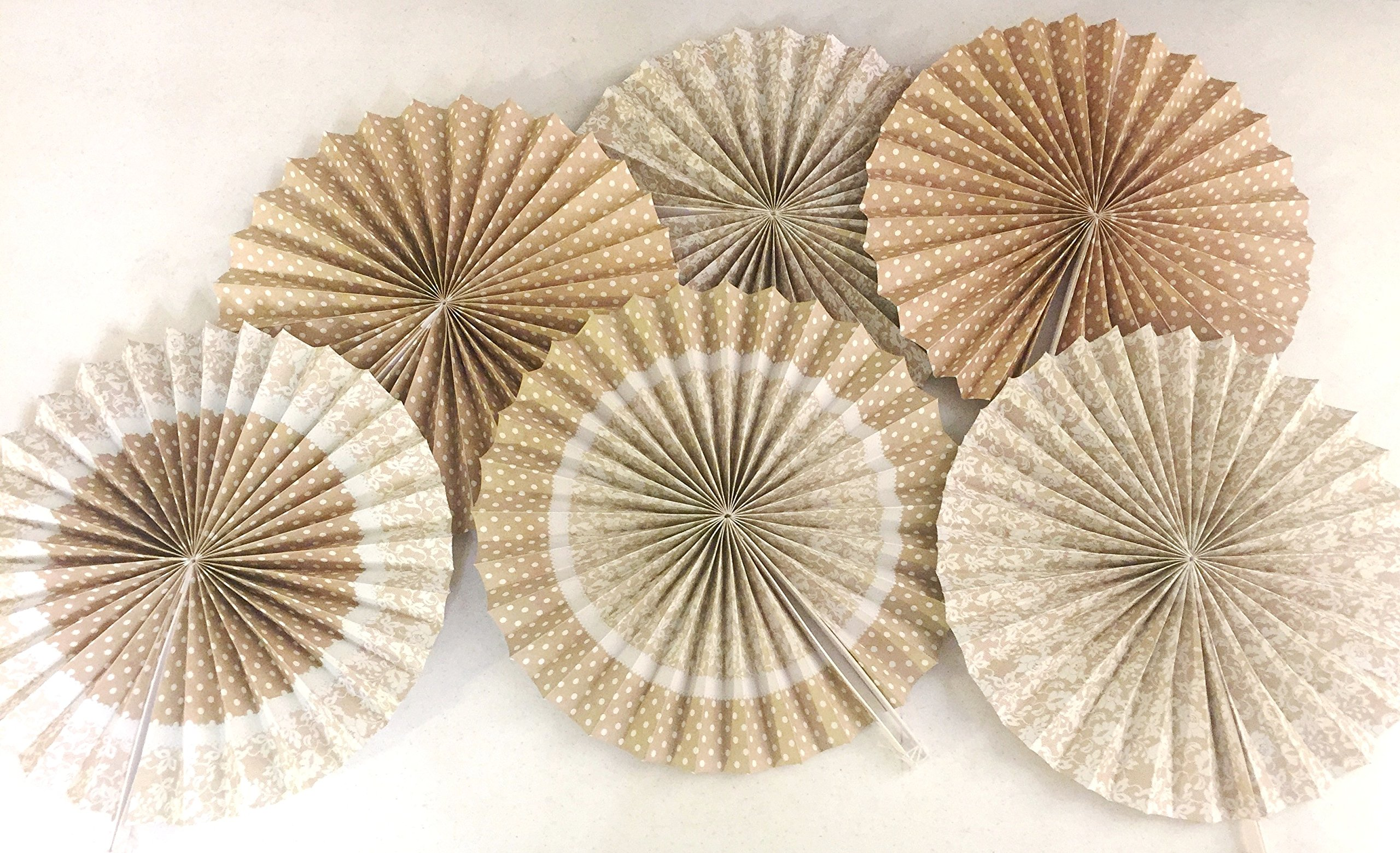 Burlap and Lace Printed Paper Fans, 14'', (Set of 6), Wedding, Shower, Decorations, Party