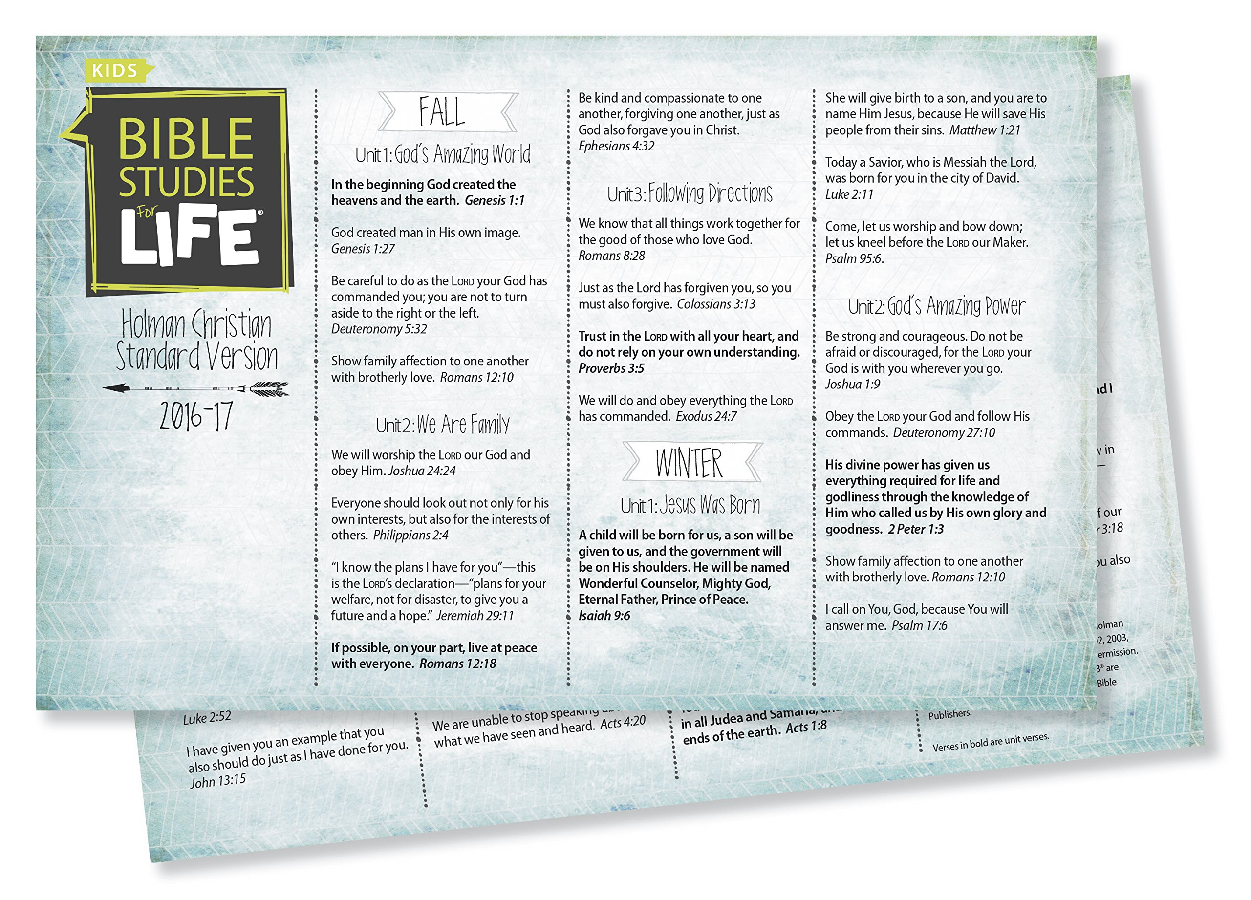 Bible Studies For Life: Kids Verse Cards for 2016-2017 - KJV Pkg  10