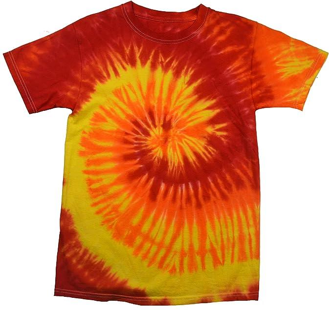 e8abc26d Amazon.com: Tie Dye Shirt Multi Color Red Yellow Orange Blaze Swirl ...
