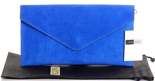 Primo Sacchi Ante italiano cuero azul envolvente diseño embrague, muñeca, hombro o bandolera. Incluye una bolsa protectora marca: Amazon.es: Zapatos y ...