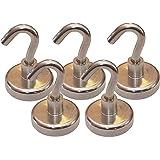 """40 Pound Neodymium Magnetic Hooks, 1.25"""" Diameter, 1.75"""" Tall (Pack of 5)"""
