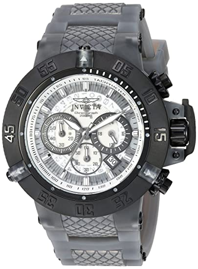 Amazon.com: Invicta Mens Subaqua Stainless Steel Quartz Watch with Silicone Strap, Grey, 27 (Model: 24368: Invicta: Watches