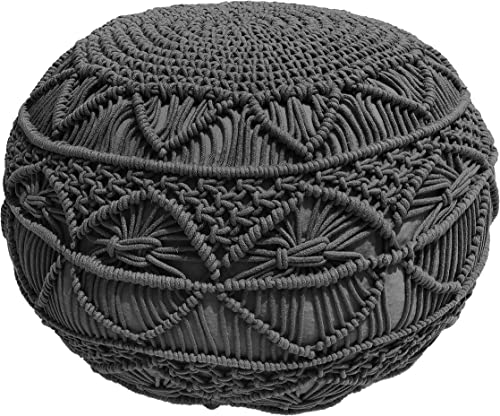 Pouf Ottoman Hand Knitted Cable Style Dori Pouf