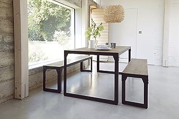 Schon Industrie Modernes Esszimmer Bank Set Mit 180 Cm Tisch Und Zwei Bänke