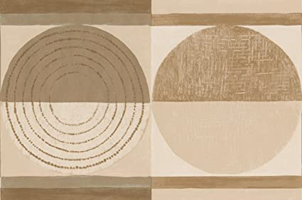 Beige Brown Abstract Wallpaper Border Painted Circle Design Roll 15