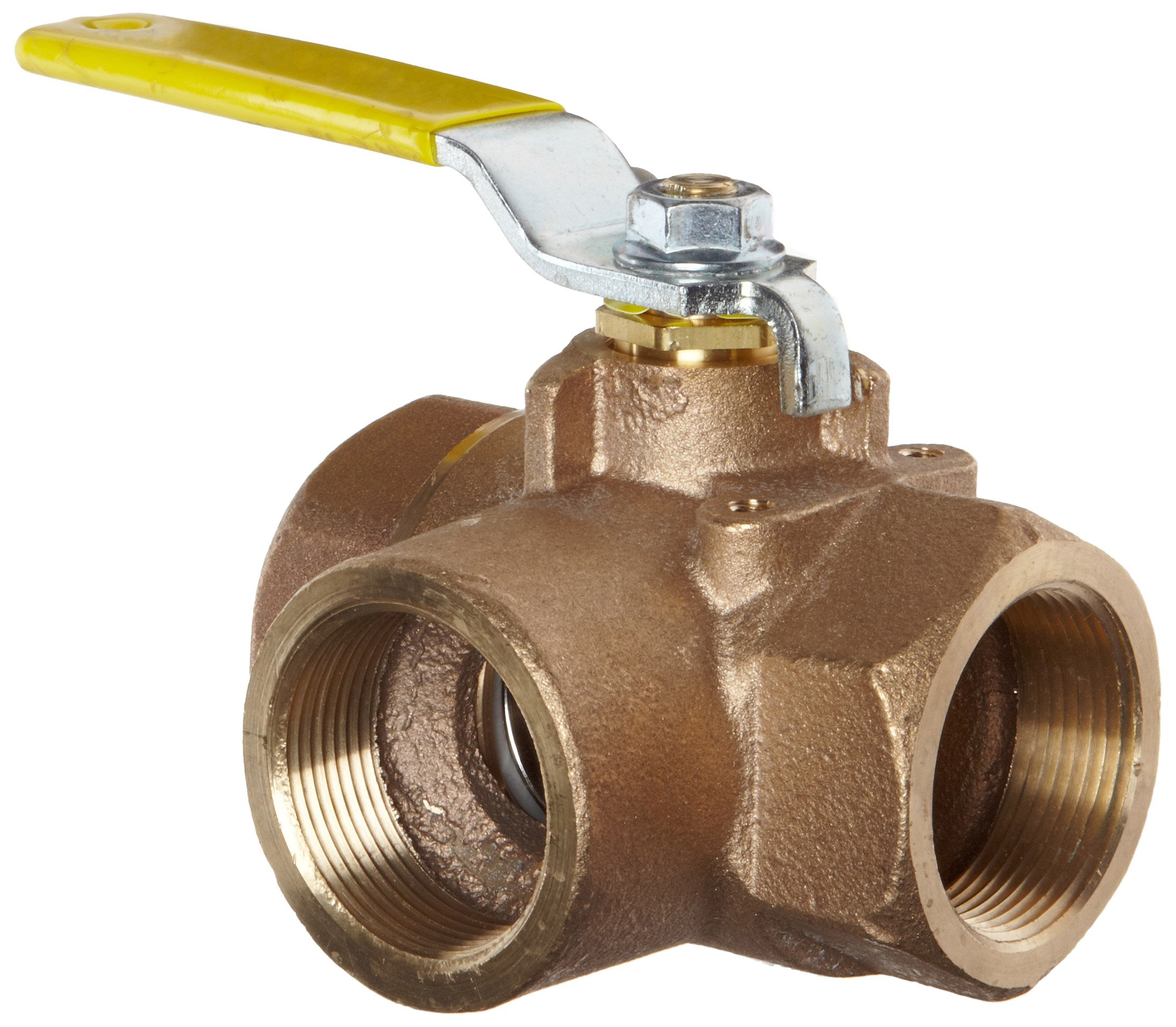 Apollo 70-600 Series Bronze Ball Valve, Two Piece, 3-Port Diverting, Lever, 1'' NPT Female