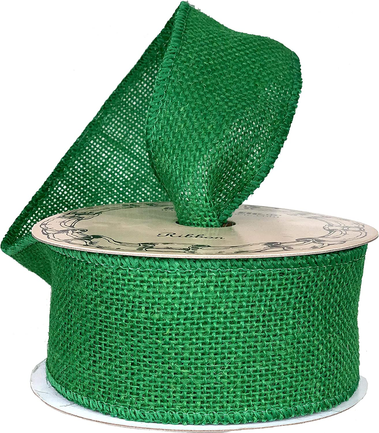"""Emerald Green Fabric Burlap Ribbon - 2 1/2"""" x 10 Yards, Wired Edge, Christmas Tree Ribbon for Crafts, Rustic Jute Decor, St. Patrick's Day, Easter, Easter, Holiday Decor, Wreaths, Garlands, Swags"""