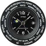 ワールドタイムウォッチ ATOP クロック 置時計 置き時計(ブラック)