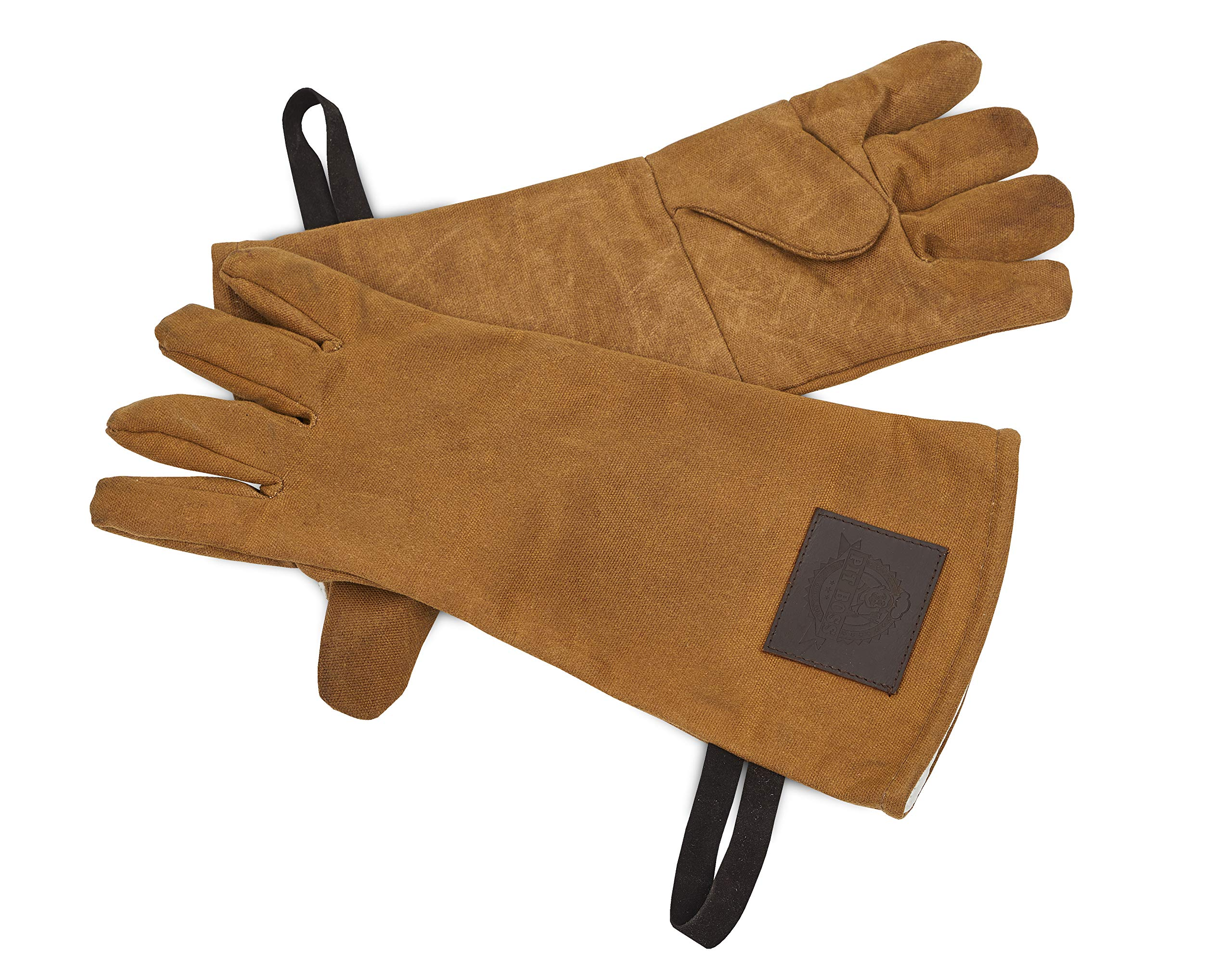 Pit Boss Grills 67284 Pit Boss Leather and Canvas BBQ Grilling Glove, Brown