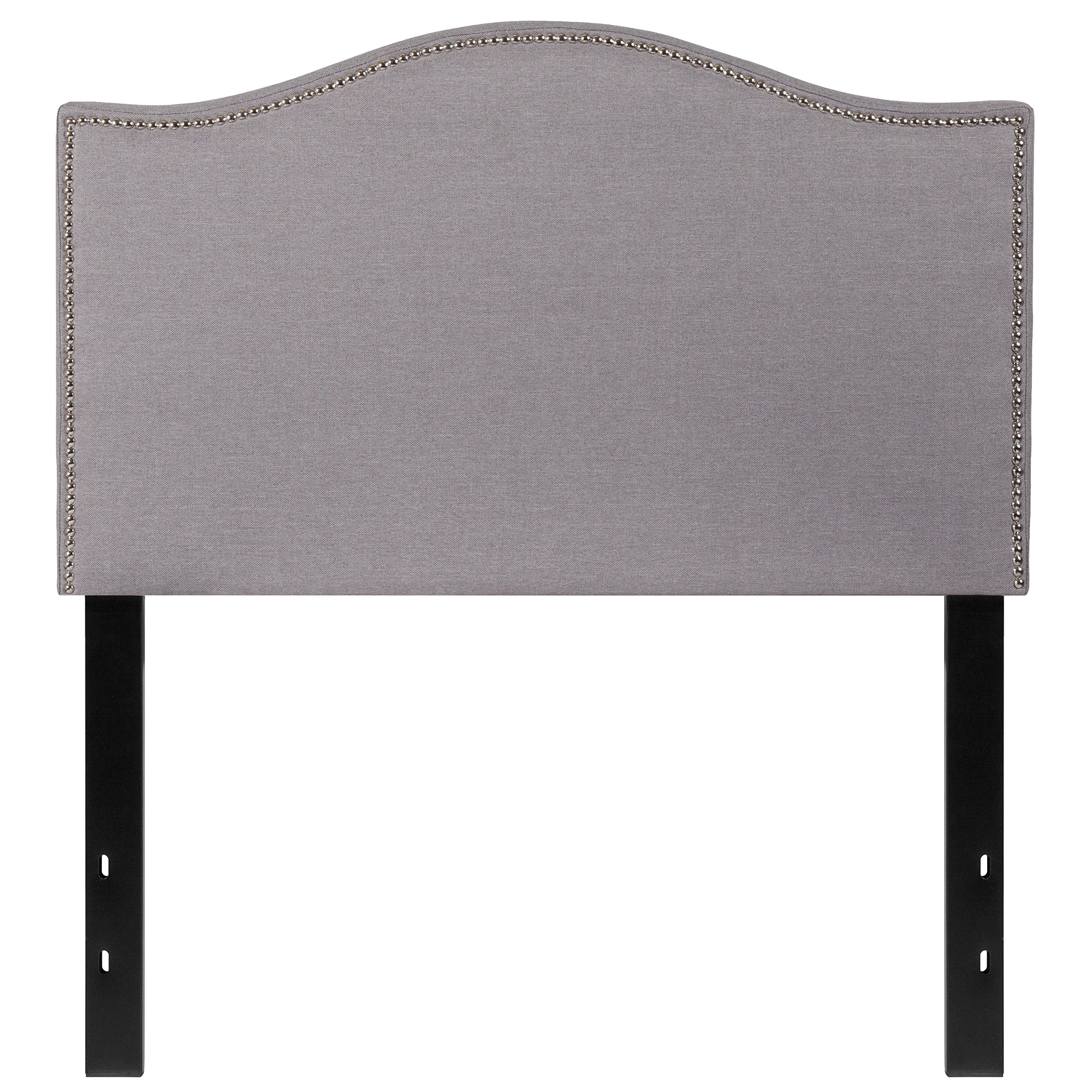Flash Furniture Lexington Upholstered Twin Size Headboard with Decorative Nail Trim in Light Gray Fabric - HG-HB1707-T-LG-GG