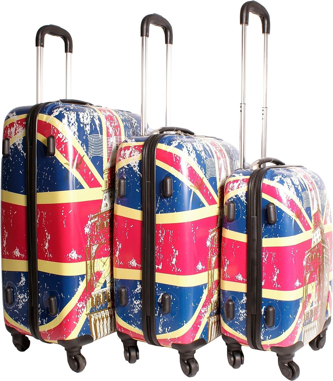 2408Union Jack–Multicolor Set de 3maletas 4ruedas super ligero–Funky Equipaje de la bandera de–carcasa rígida de plástico–Big Ben de Londres Uk