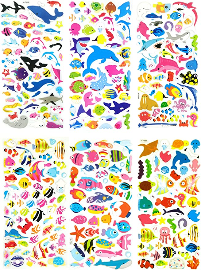 Birthday Party Diary Asian 108 Markets Fish and Hen Design Colorful Sticker Self-Adhesive Metallic Foil Decorative Scrapbook for Kid Album Photo ST12-FISHHEN Celebration Card