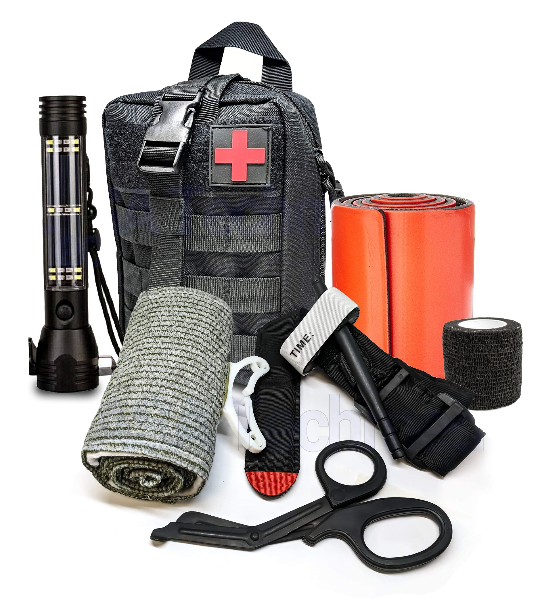 Advance Military Style First Aid Survival Kit Emergency Kit Earthquake Survival Kit IFAK Molle Bag for Car Home Work Office Boat or Adventures + Roadside Rescuer 9-IN-1 Gadget Solar Powered Flashlight by ASATechmed (Image #2)