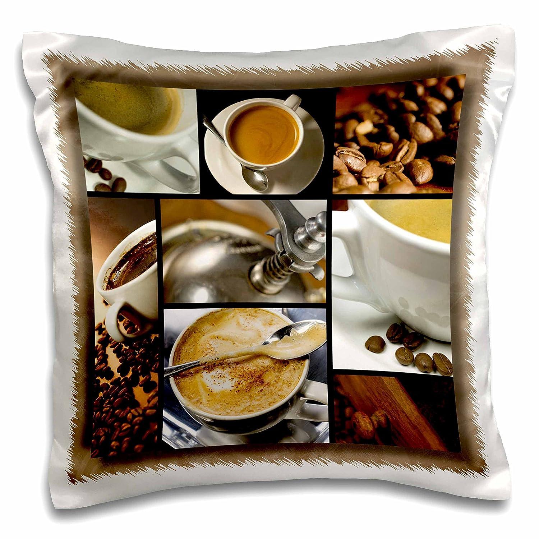 スーザンブラウンデザイン一般テーマ – コーヒーテーマコラージュ – 枕ケース 16x16 inch Pillow Case pc_28754_1 16x16 inch Pillow Case  B01651WA3C