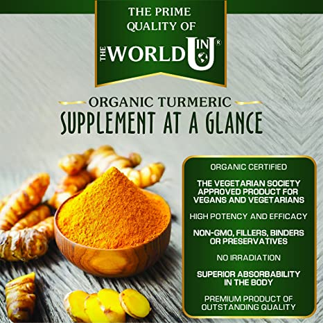Ultra Pure Organic Turmeric Curcumin and Organic Black Pepper Capsules High  Strength Food Supplement 120 Veg Capsules Soil Association Organic