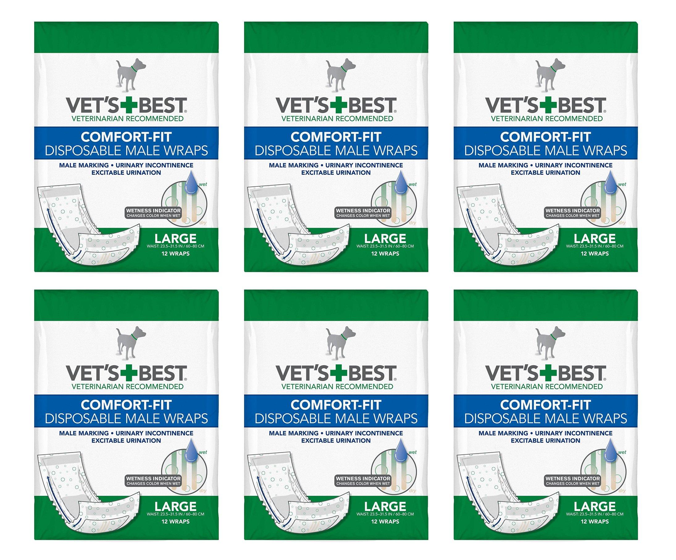 Vet's Best Comfort-Fit Disposable Male Wraps Large (6x12ct) (72 Count)