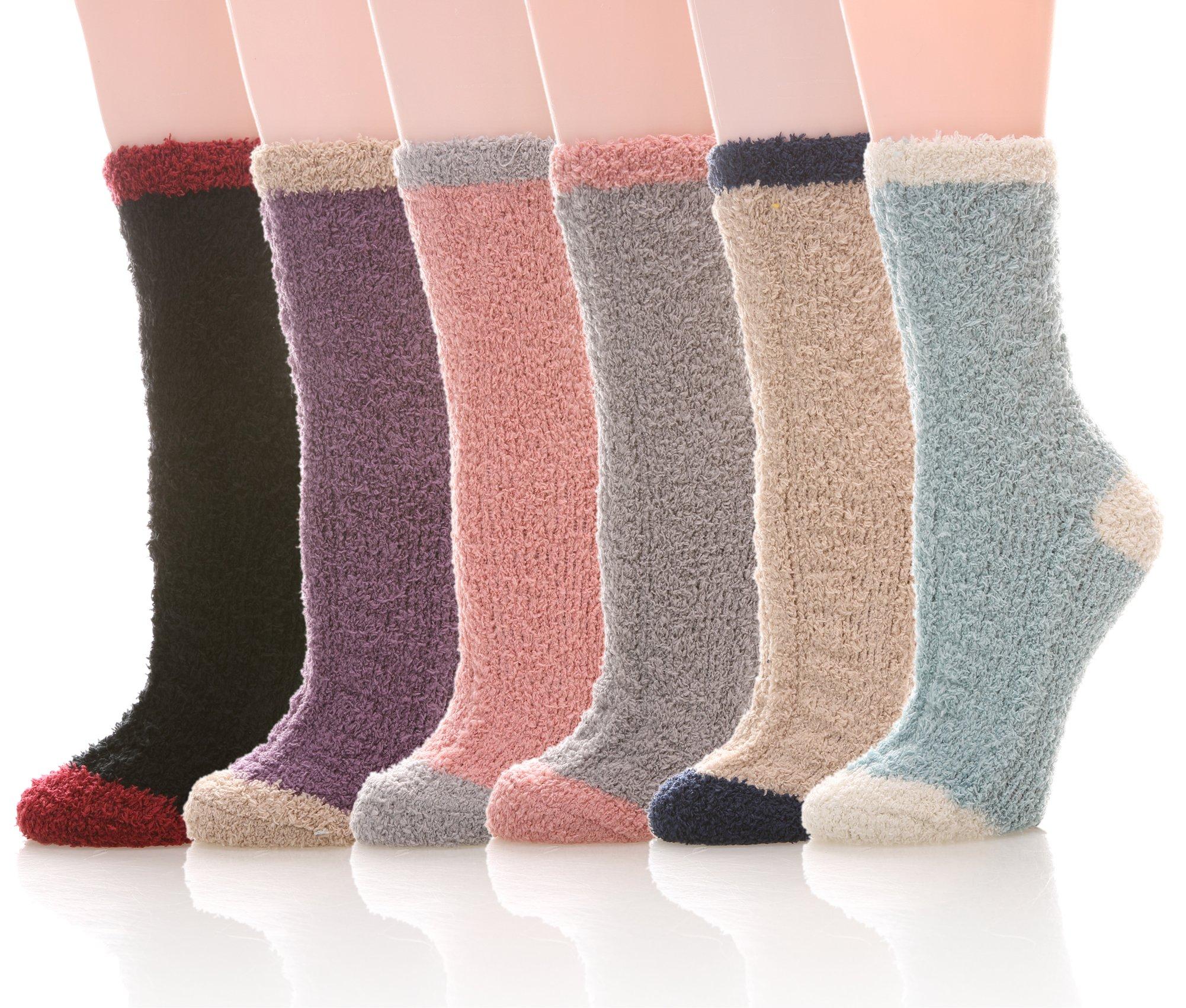 YEBING 6 Pairs Women's Cozy Slipper Socks Super Soft Fuzzy Winter Warm Socks Multi Color (Mixed Color)
