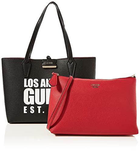 borsa a mano nero Guess Bobbi Large Inside Out Shopper donna
